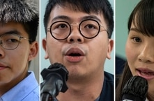 This combination of file photos shows Hong Kong pro-democracy activists Joshua Wong (L), Ivan Lam (C),  and Agnes Chow (R)