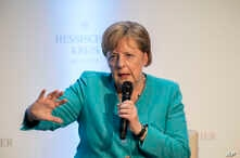 """German Chancellor Angela Merkel takes part in a discussion during an event marking the 60th anniversary of the """"Hessische Kreis"""" association in Frankfurt am Main, Germany, Wednesday June 5, 2019. (Thomas Lohnes/Pool via AP)"""
