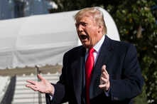President Donald Trump speaks to reporters upon arrival at the White House in Washington, Sunday, Nov. 3, 2019. (AP Photo…