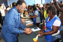 Namibian President Hage Geingob casts his ballot in Windhoek, Namibia in the country's elections Wednesday, Nov. 27, 2019…