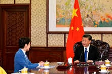 Chinese President Xi Jinping speaks with Hong Kong Chief Executive Carrie Lam