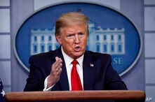 President Donald Trump speaks about the coronavirus in the James Brady Press Briefing Room of the White House, Wednesday, April…