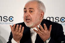 Iranian Foreign Minister Mohammad Javad Zarif speaks on the second day of the Munich Security Conference in Munich, Germany,…