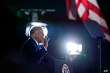 President Donald Trump speaks during a campaign rally at Arnold Palmer Regional Airport, Thursday, Sept. 3, 2020, in Latrobe,…