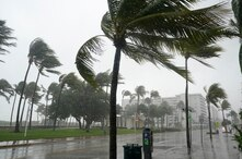 A normally bustling Ocean Drive is shown during a downpour, Sunday, Nov. 8, 2020, on Miami Beach, Florida's famed South Beach…