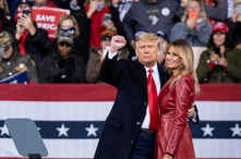 President Donald Trump and first lady Melania Trump prepare to leave a rally for U.S. Senators Kelly Loeffler, R-Ga., and David…