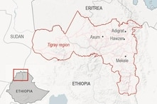 Map locates key cities in Ethiopia's Tigray region. Millions of Tigray residents, still largely cut off from the world, live in…