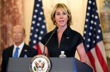 FILE - In this Sept. 21, 2020, file photo, U.S. Ambassador to the United Nations Kelly Craft speaks during a news conference at…