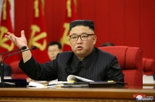 North Korean leader Kim Jong Un speaks during the opening of the 3rd Plenary Meeting of the 8th Central Committee of the Workers' Party of Korea