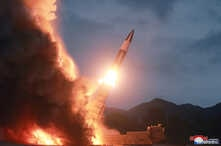 North Korea test fires a new weapon, in this undated photo released Aug. 11, 2019, by North Korea's Korean Central News Agency.
