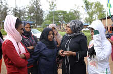 Asylum-seekers who arrived from Libya, are seen at the United Nations emergency transit centre in Gashora, Rwanda October 23,…