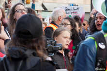 Climate change teen activist Greta Thunberg marches in the climate strike through downtown Vancouver, British Columbia, Canada…