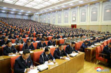 Attendees are seen during the 5th Plenary Meeting of the 7th Central Committee of the Workers' Party of Korea (WPK) in this…