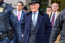 Former Trump campaign adviser Roger Stone departs following his sentencing hearing at U.S. District Court in Washington, U.S.,…