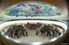 Overview of the session of the Human Rights Council during the speech of U.N. High Commissioner for Human Rights Michelle…