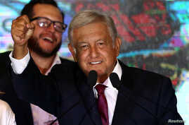 Mexico's next President Andres Manuel Lopez Obrador addresses supporters, in Mexico City, Mexico, July 1, 2018.