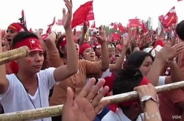 Supporters of Burma's opposition National League for Democracy