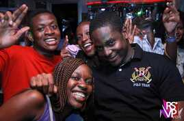 Crew and audience mug the camera at Celebrations, one of several clubs where Moonlight Café produces RSVP, smaller entertainment venues featuring new artists. (Courtesy Moonlight Cafe)