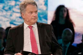 Sauli Niinisto, President of the Republic of Finland, participates in a panel discussion during the One Planet Summit in New York, Sept. 26, 2018.
