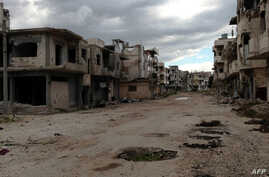 Shows destruction in the Baba Amr neighbourhood of the central Syrian city of Homs, (File photo).