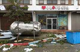 Debris is scattered after Super Typhoon Yutu hit the U.S. Commonwealth of the Northern Mariana Islands in Garapan, Saipan, Oct. 25, 2018.