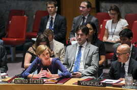 FILE - U.S. Ambassador to the United Nations, Samantha Power, addresses a resolution to investigate the use of chemical weapons in Syria during a United Nations Security Council meeting at the U.N. headquarters in New York, Aug. 7, 2015. On Friday,