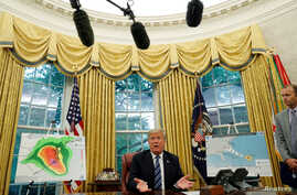 U.S. President Donald Trump holds an Oval Office meeting on preparations for hurricane Florence at the White House in Washington, Sept. 11, 2018.
