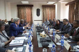 U.S. Secretary of State John Kerry (2nd L) participates in a meeting with Ethiopian Minister of Foreign Affairs Tedros Adhanom (2nd R), Kenyan Foreign Minister Amina Mohamed (3rd R) and Ugandan Foreign Affairs Minister Sam Kutesa (R) in Addis Ababa, ...