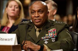 Defense Intelligence Agency Director Lt. Gen. Vincent Stewart testifies on Capitol Hill in Washington, Tuesday, May 23, 2017, before the Senate Armed Services Committee hearing on worldwide threats.