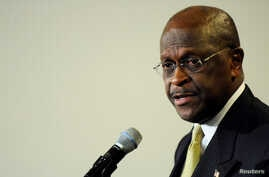 FILE - Former Republican presidential hopeful Herman Cain speaks at the National Press Club in Washington, Jan. 24, 2012.