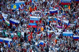 Russian fans cheer for their team during the Euro 2016 Group B match between Russia and Wales in Toulouse, France, June 20, 2016. Wales won 3-0.