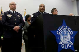 FILE - Chicago Police Superintendent Eddie Johnson, center, speaks during a news conference Sept. 21, 2016, in Chicago, Illinois.