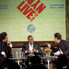 Rapper Jay-Z at the New York Public Library with Cornel West (left) and lecture series director, Paul Holdengräber (right).