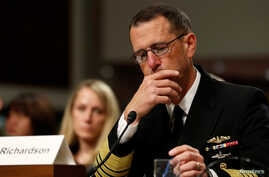 U.S. Navy Admiral John Richardson, the chief of naval operations, testifies during a Senate Armed Services Committee hearing on recent fatal Navy ship collisions at sea, on Capitol Hill in Washington, Sept. 19, 2017.