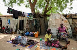 Displaced people are pictured at the EYN CAN Center internally displaced persons camp in Maiduguri, Nigeria on March 24, 2016.