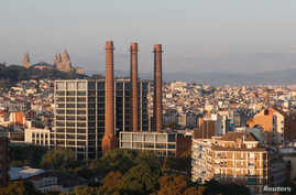A general view shows Barcelona with Montjuic Castle in the background, Spain, Oct. 15, 2017.