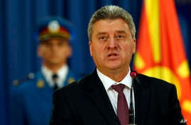 Macedonia's President Gjorge Ivanov speaks during an media conference after talks with his Serbian counterpart Tomislav Nikolic, in Belgrade, Serbia, Oct. 28, 2016.