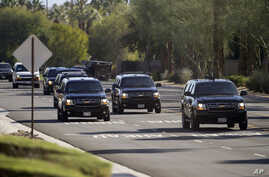 President Barack Obama's vehicle and motorcade are seen leaving Thunderbird Country Club in Rancho Mirage, Calif., Saturday, Feb. 13, 2016. On Monday and Tuesday, Obama will be with the leaders of the Association of Southern Asian Nations (ASEAN).