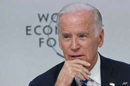 "U.S. Vice President Joe Biden speaks during a panel discussion titled ""Cancer Moonshot: A Call to Action"" during the World Economic Forum in Davos, Switzerland, Jan. 19, 2016."