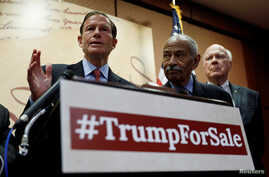 U.S. Senator Richard Blumenthal, from left, (D-CT), House Judiciary Committee member John Conyers, Jr. (D-MI) and Senator Pat Leahy (R) hold a press conference to outline the claim that U.S. President Donald Trump violated the emoluments clause of th