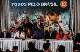 Brazil's presidential candidate for the Workers' Party Fernando Haddad  speaks during a meeting with a group of evangelical pastors, in Sao Paulo, Oct. 17, 2018.