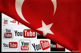 FILE - YouTube logos displayed on a laptop screen partially covered with Turkey's national flag in this photo illustration taken in Ankara, March 27, 2014.