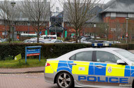 Salisbury District Hospital, where poisoned spy Sergei Skripal is being treated, is pictured in Salisbury, England, April 10, 2018. Footage posted online by British newspapers showed a reporter from the Russian REN TV network walking along hospital c