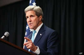 U.S. Secretary of State John Kerry gestures as he speaks at a news conference at the Nairobi Sankara Hotel, May 4, 2015, in Nairobi, Kenya.