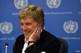 Actor Robert Redford talks to the press at the General Assembly's High-Level Climate Change meeting at the United Nations in New York, June 29, 2015.