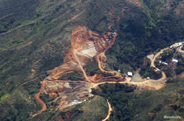 A view shows ecological damage caused by illegal gold mining in a rural area of Santander de Quilichao, in the department of Cauca, Feb. 13, 2015.