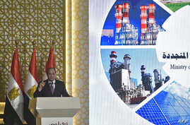 Egyptian President Abdel-Fattah el-Sissi gives a speech during the inauguration of three large power plants as well as other projects in the energy sector, on the outskirts of the capital, Cairo, July 24, 2018.