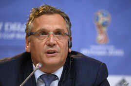 "FIFA Secretary-General Jerome Valcke, speaking at a news conference in St. Petersburg, Russia, ahead of this weekend's qualifying draw, says the current FIFA corruption investigation ""does not help to finalize any new agreement"" with sponsors, July 2"