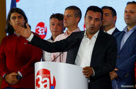 Macedonia's PM Zoran Zaev gives a speach during a referendum night on changing Macedonia's name that would open the way for it to join NATO and the European Union in Skopje, Macedonia, Sept. 30, 2018.