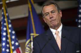 Speaker of the House John Boehner, R-Ohio, speaks with reporters on Capitol Hill in Washington, July 9, 2015.
